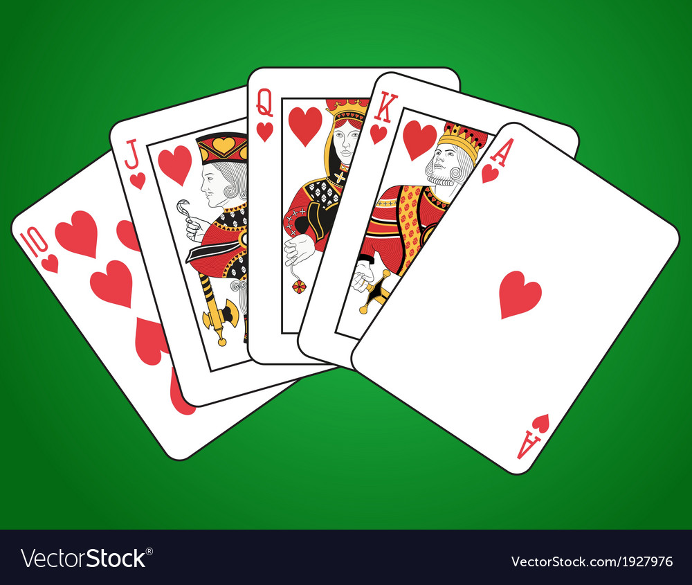 Royal flush of hearts vector | Price: 1 Credit (USD $1)