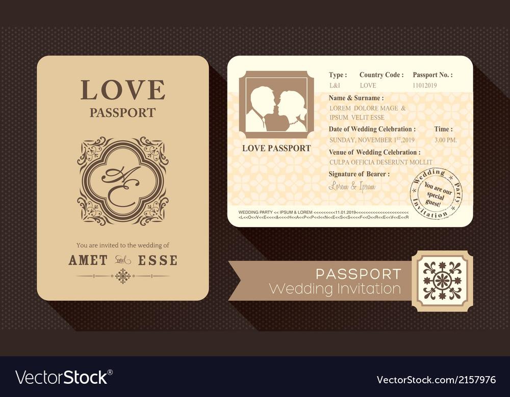 Vintage passport wedding invitation card design vector | Price: 1 Credit (USD $1)