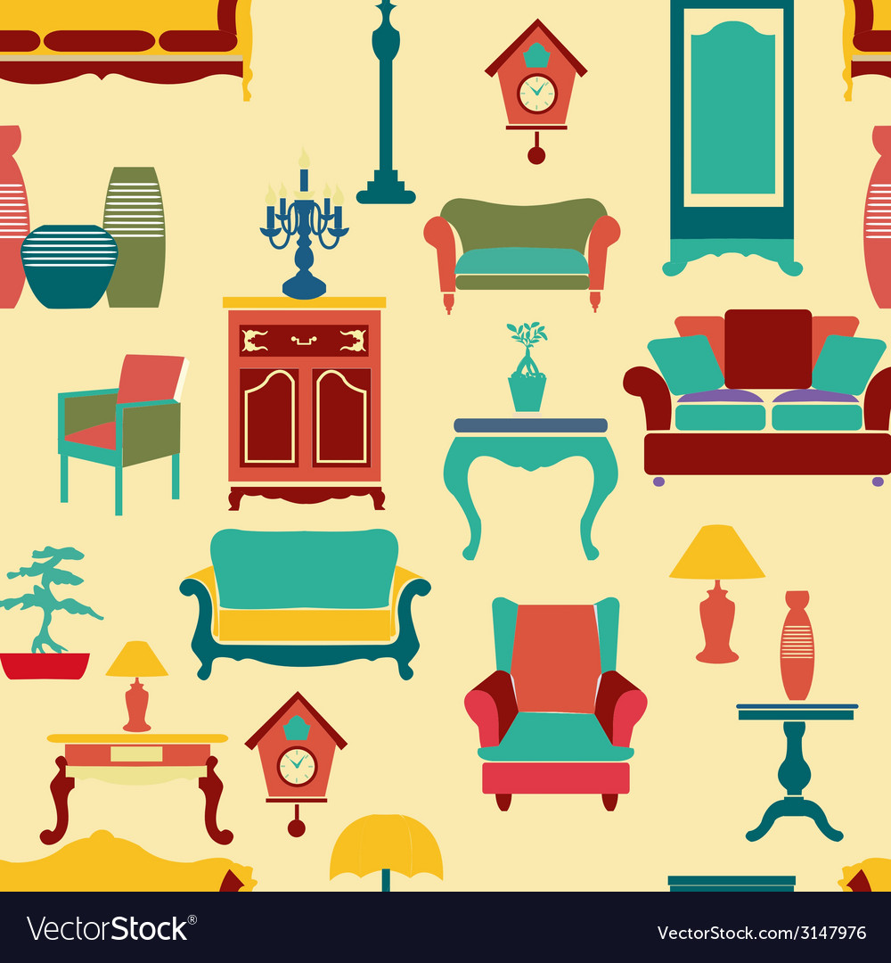 Vintage style home living furniture vector | Price: 1 Credit (USD $1)