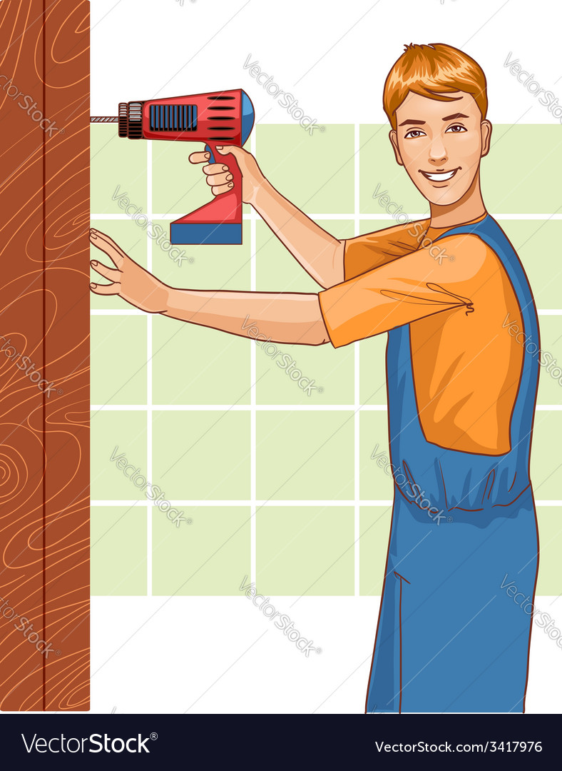 Working man with drill at home eps10 vector | Price: 1 Credit (USD $1)