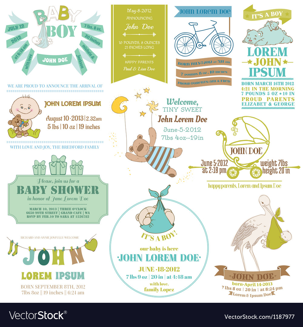 Baby arrival and shower collection vector | Price: 3 Credit (USD $3)