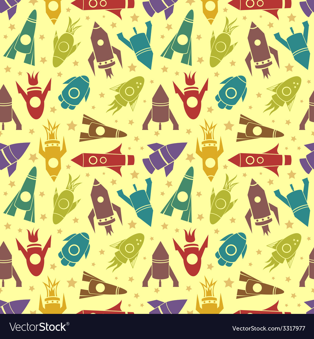 Cartoon rockets seamless pattern vector | Price: 1 Credit (USD $1)
