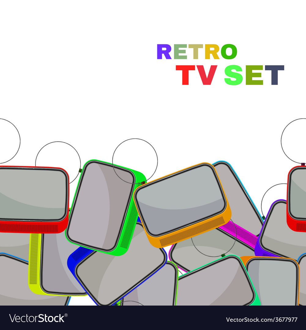 Colorful retro tv set isolated vector   Price: 1 Credit (USD $1)