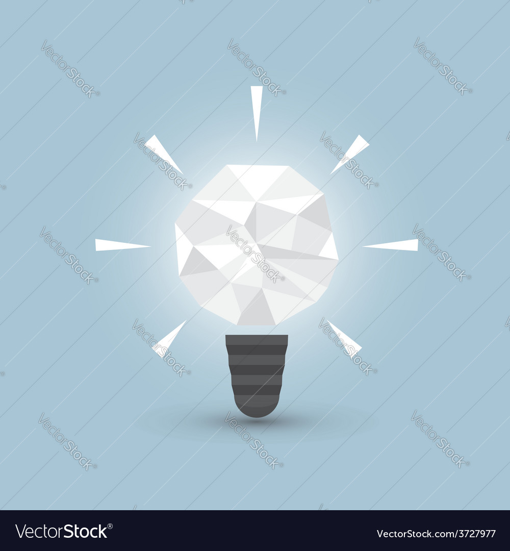 Crumpled paper light bulb idea concept vector | Price: 1 Credit (USD $1)