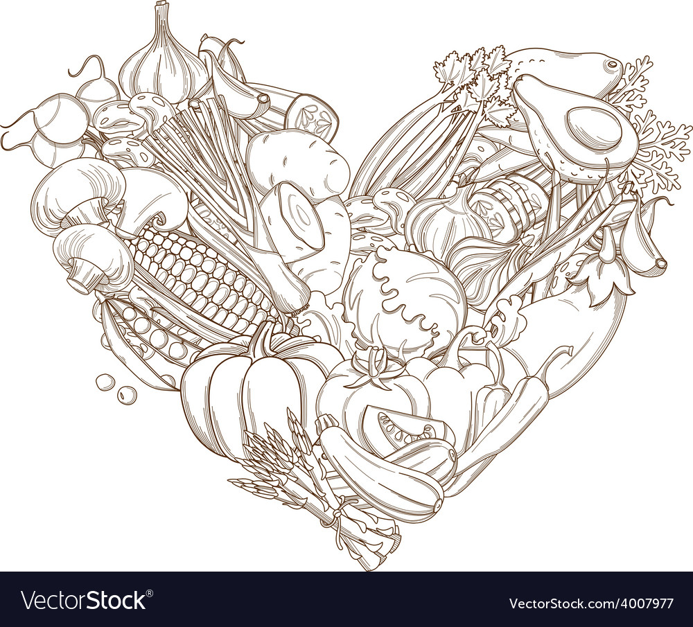 Outline hand drawn sketch of vegetable heart flat vector | Price: 1 Credit (USD $1)