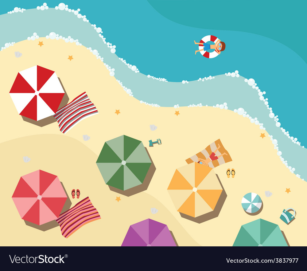 Summer beach in flat design aerial view sea side vector | Price: 1 Credit (USD $1)