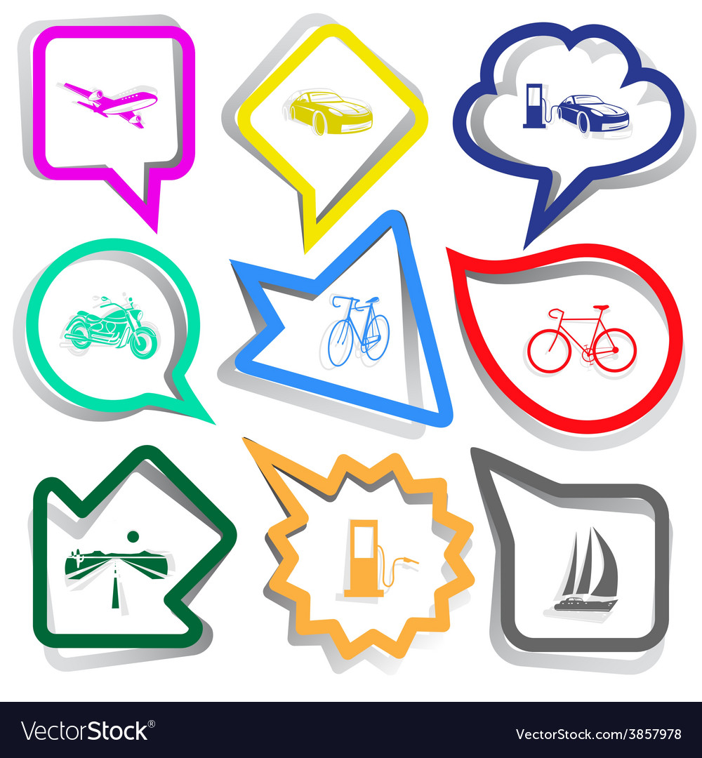 Airliner car car fueling motorcycle bicycle road vector | Price: 1 Credit (USD $1)