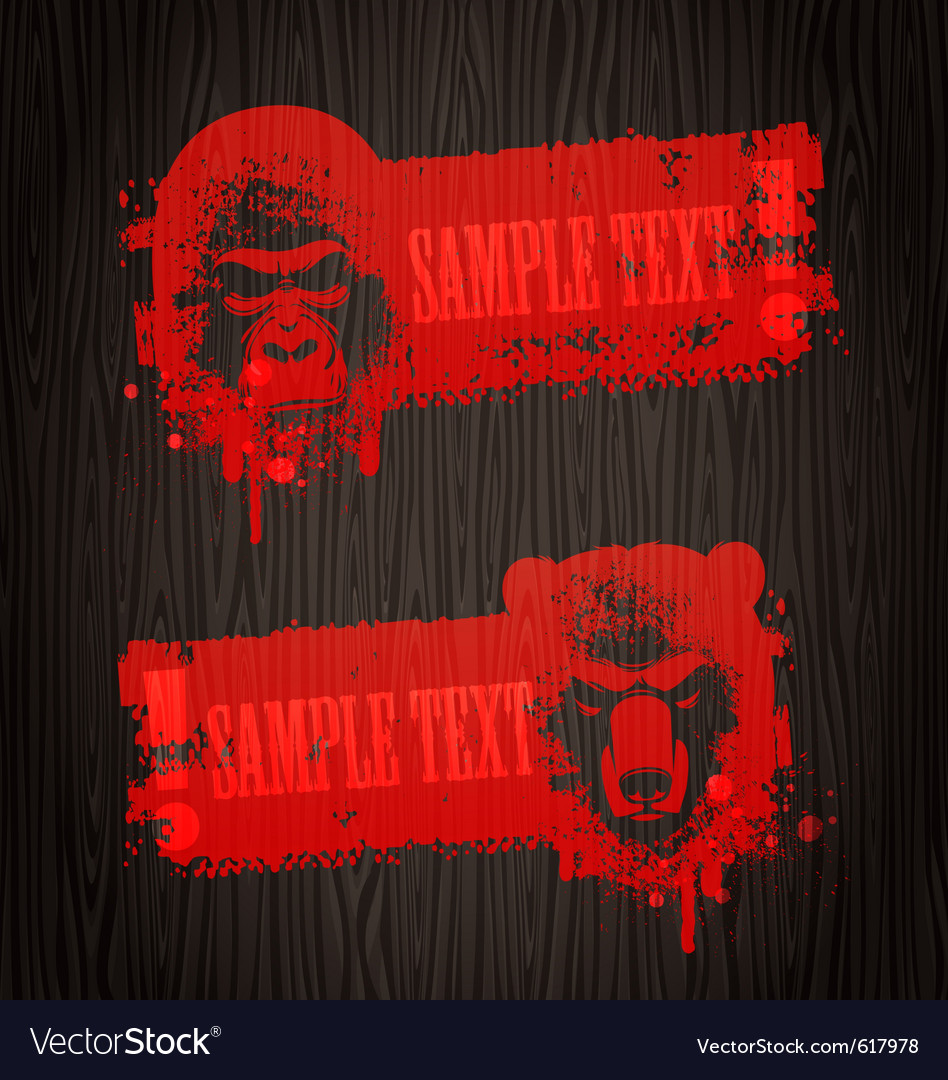 Banners with animal heads vector | Price: 1 Credit (USD $1)