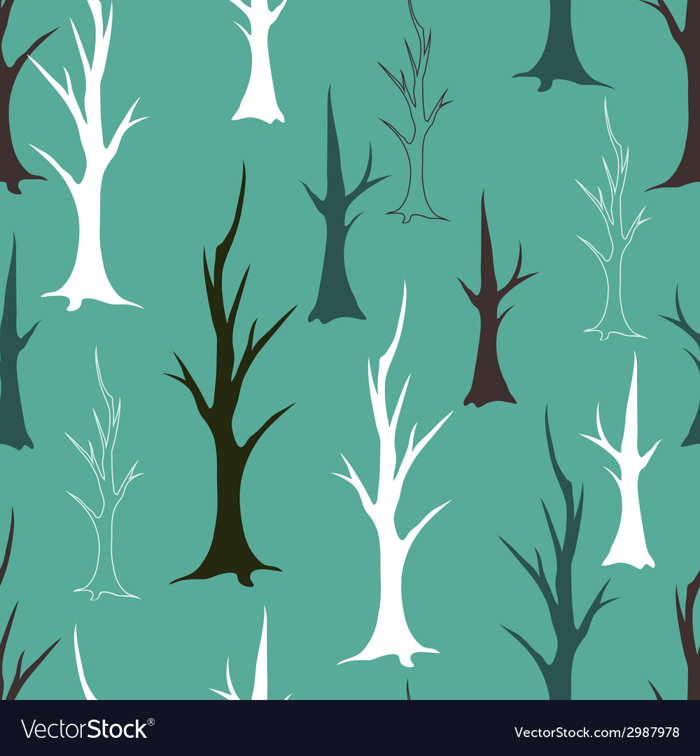Bare autumn trees seamless pattern vector | Price: 1 Credit (USD $1)