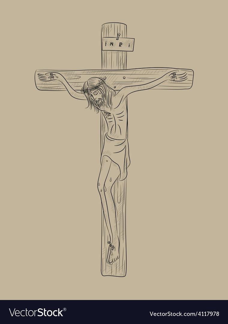 Christ on cross vector | Price: 1 Credit (USD $1)