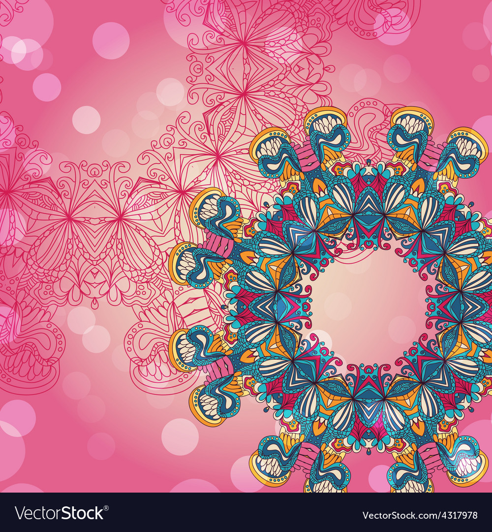 Circle mandala lace hand-drawn kaleidoscope vector | Price: 1 Credit (USD $1)