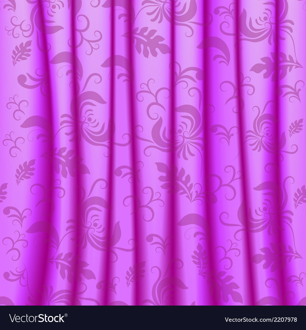Curtain with pleats and damsk ornaments vector | Price: 1 Credit (USD $1)