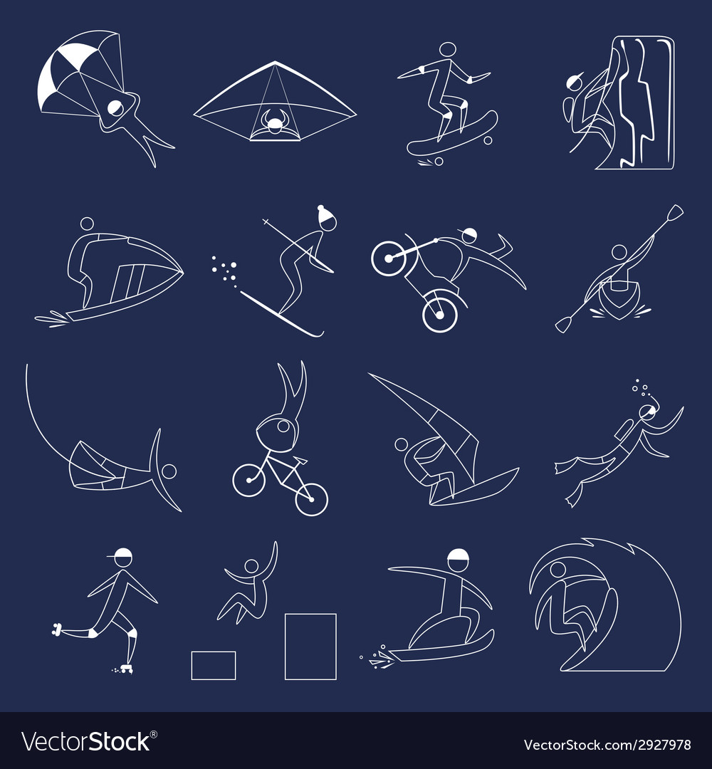 Extreme sports icons outline vector | Price: 1 Credit (USD $1)