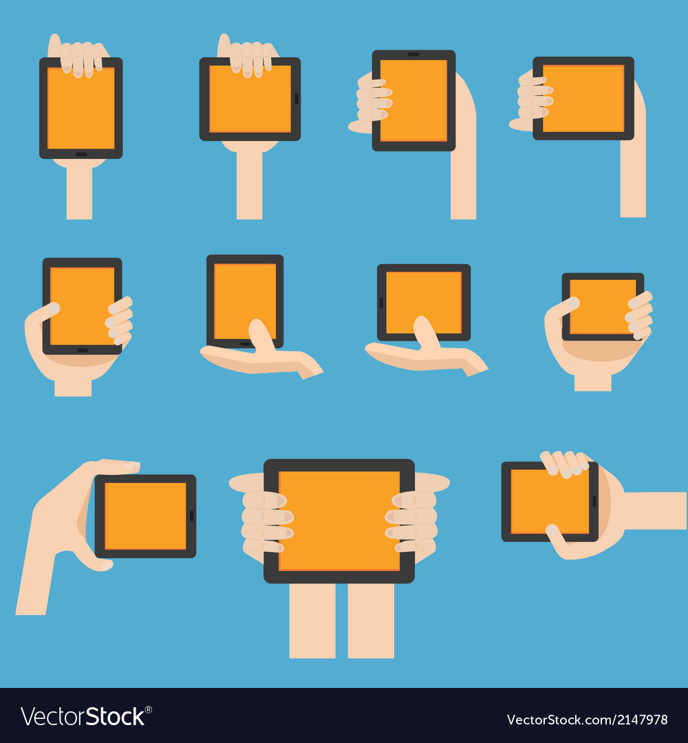 Hand hold mobile device in flat design vector | Price: 1 Credit (USD $1)