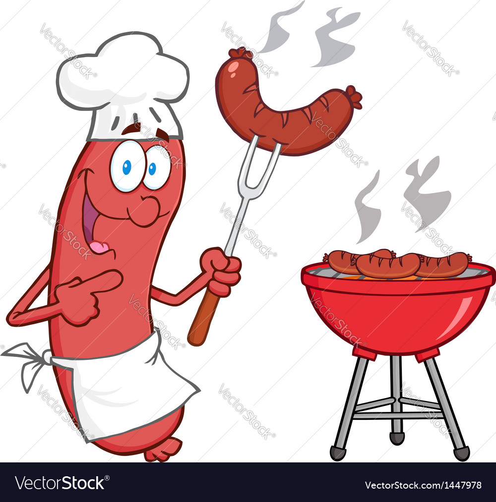 Happy sausage chef cook at barbecue vector | Price: 1 Credit (USD $1)