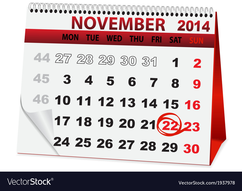 Holiday calendar for thanksgiving day vector | Price: 1 Credit (USD $1)