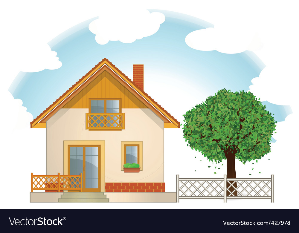 House and tree vector | Price: 1 Credit (USD $1)