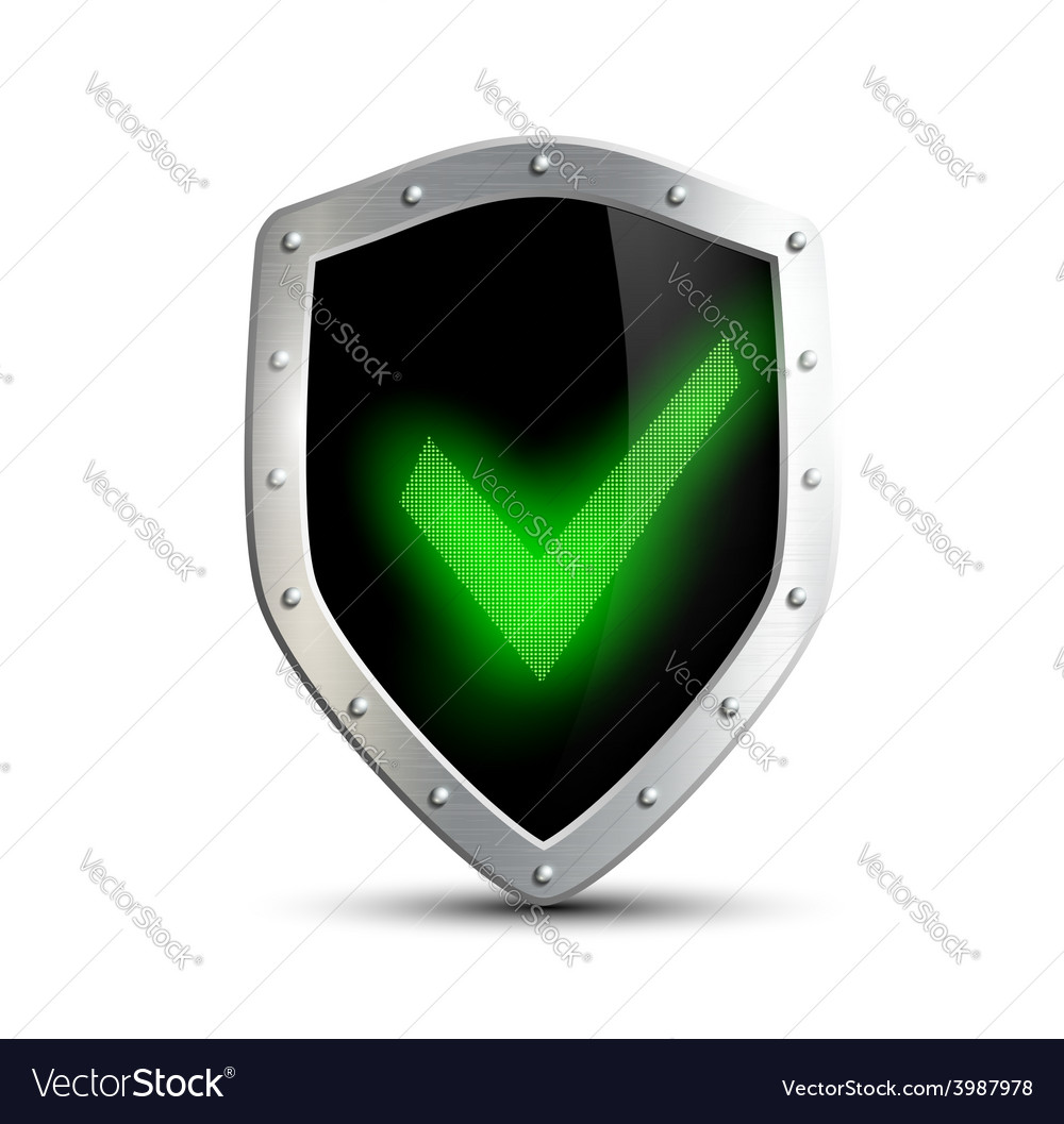 Metal shield with green tick isolated on white vector | Price: 1 Credit (USD $1)