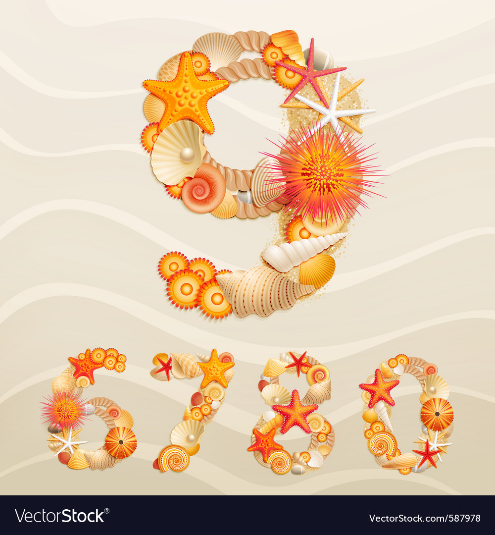 Numbers sea life font vector | Price: 5 Credit (USD $5)