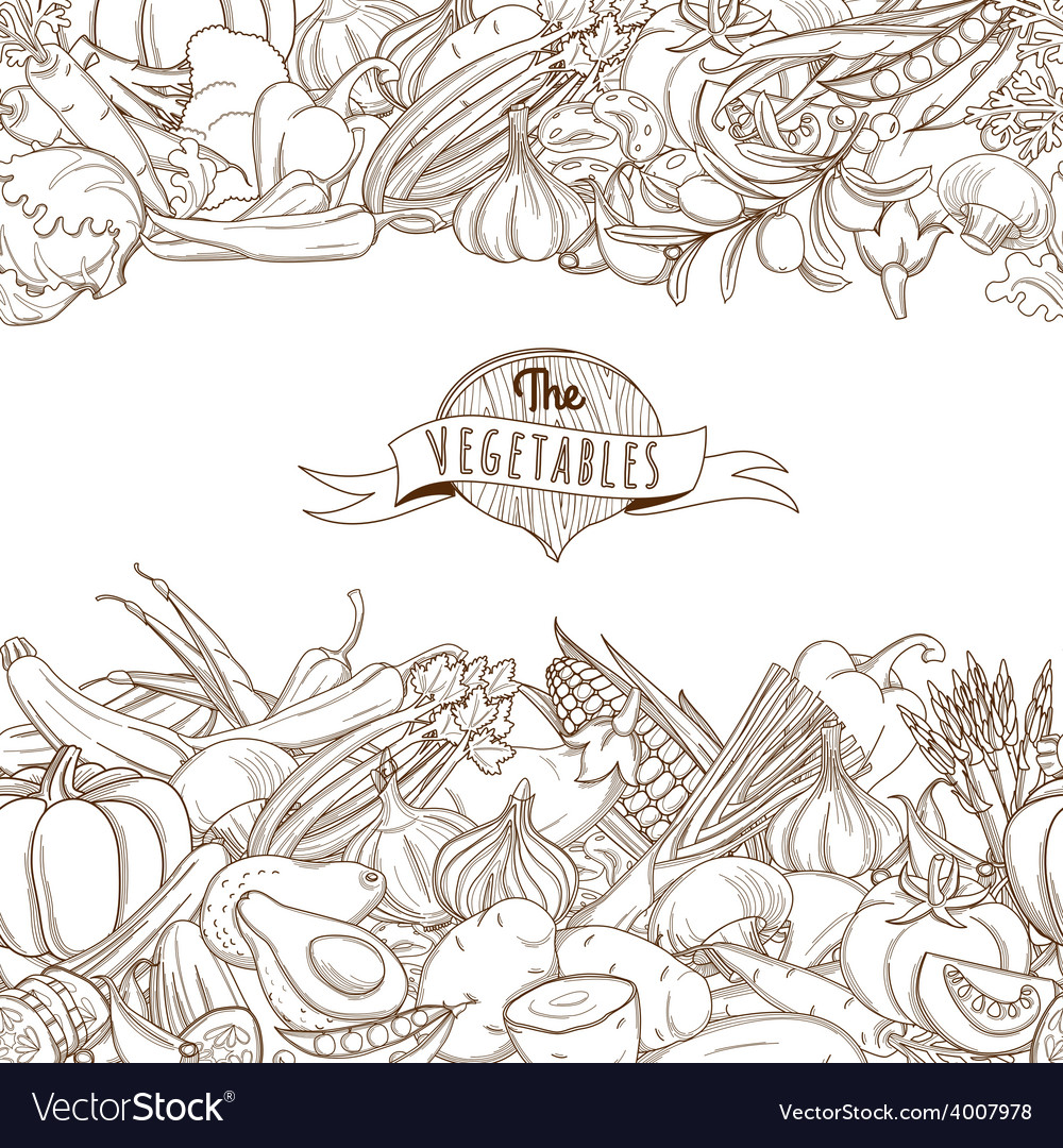 Outline hand drawn sketch seamless vegetable vector | Price: 1 Credit (USD $1)