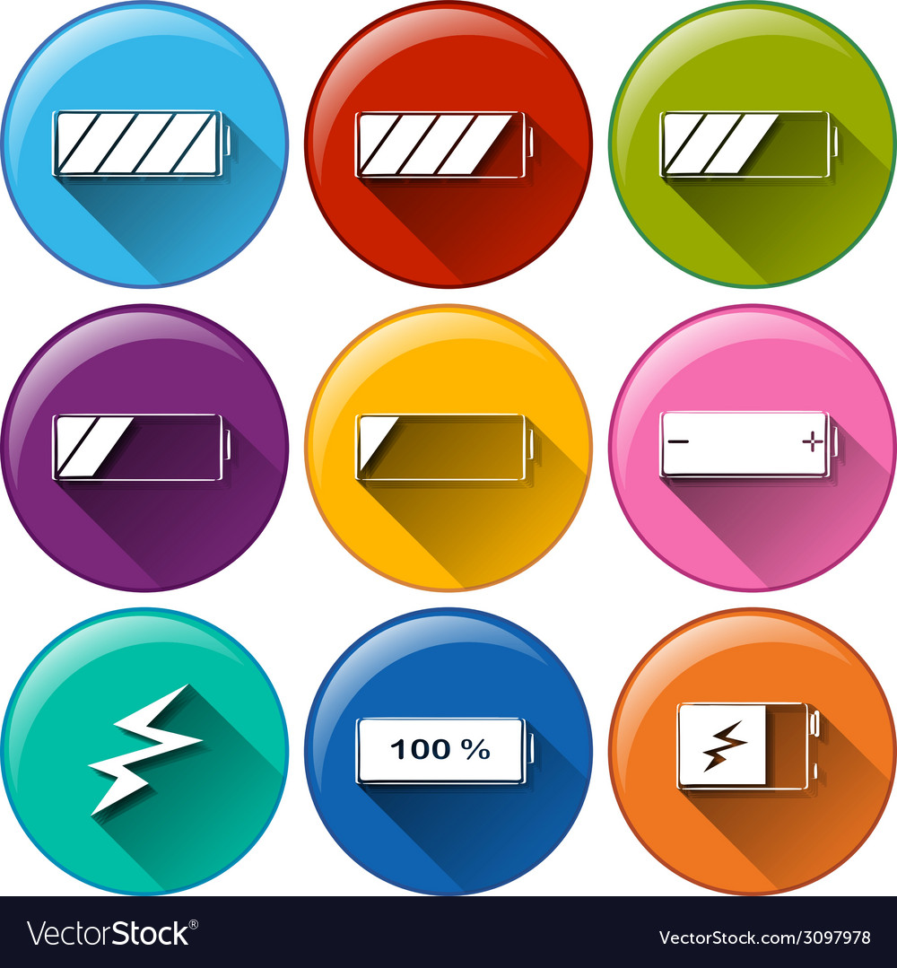 Round icons with batteries charging vector | Price: 1 Credit (USD $1)