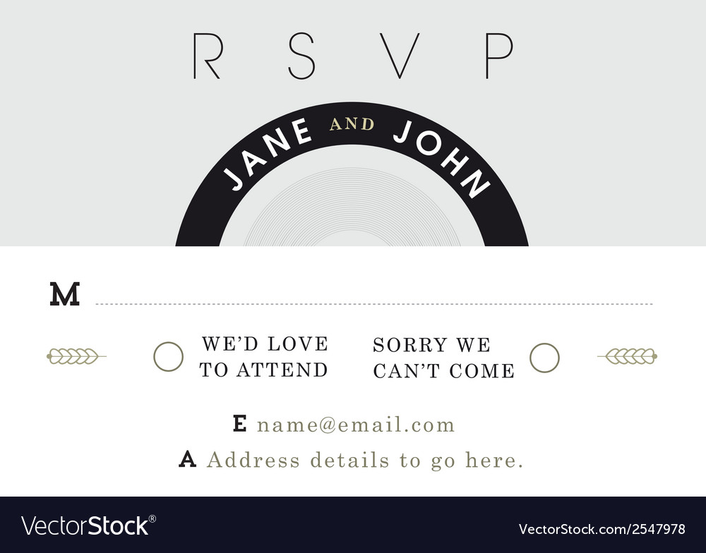Rsvp wedding card black and grey theme vector | Price: 1 Credit (USD $1)