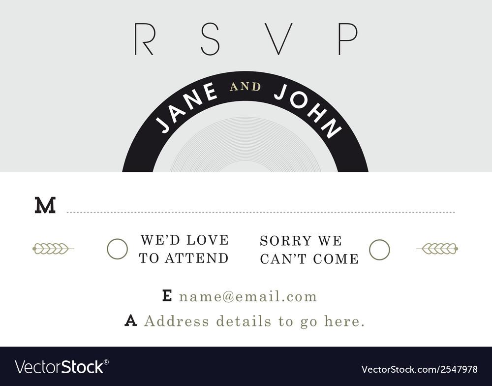 Rsvp wedding card black and grey theme vector | Price: 1 Credit (USD $1)