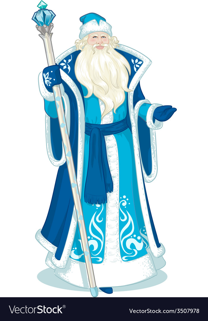 Russian christmas character father frost in blue vector | Price: 1 Credit (USD $1)