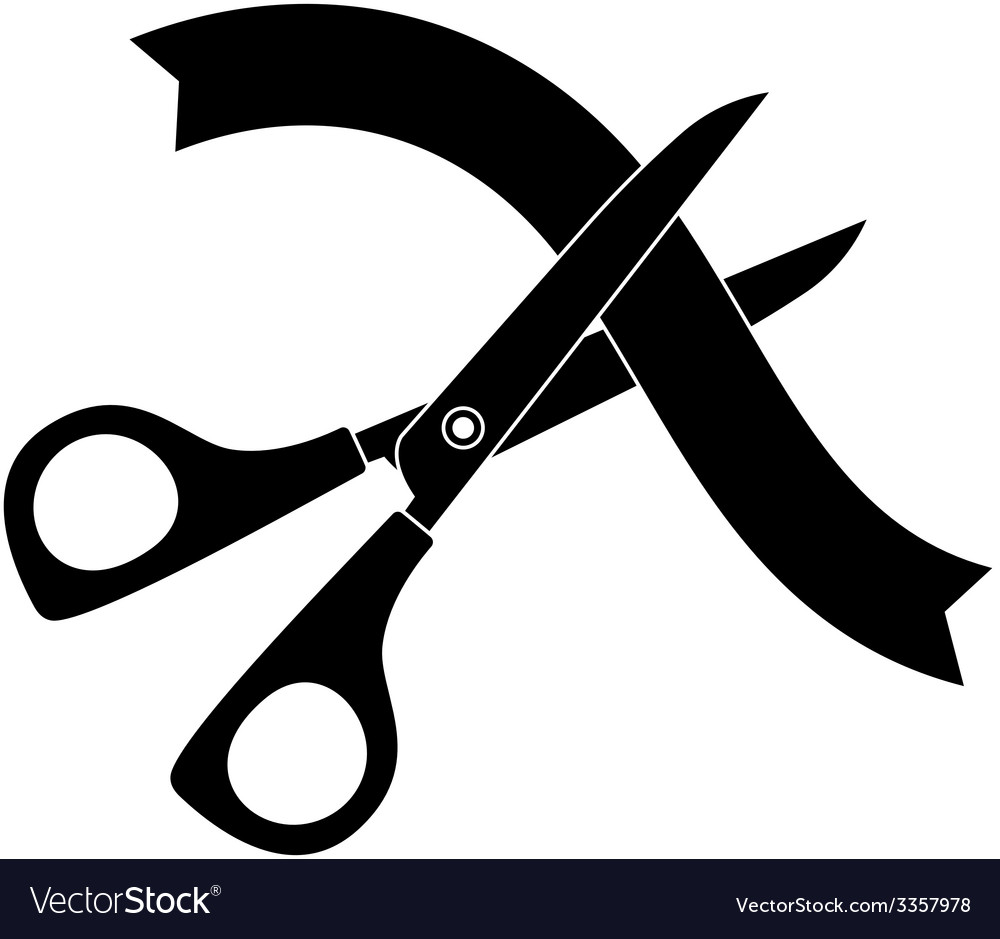 Scissors cutting the ribbon black icon vector | Price: 1 Credit (USD $1)