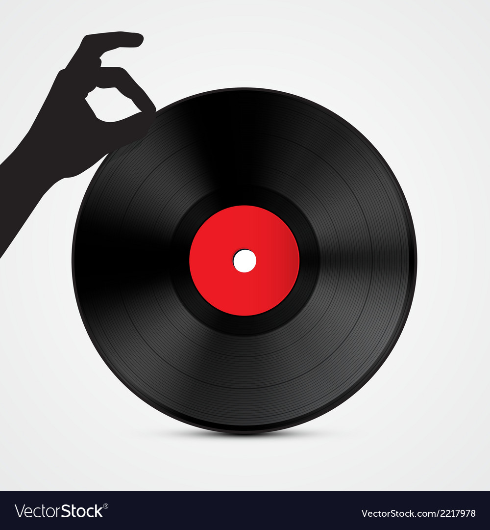 Vinyl record disc with hand isolated on light vector | Price: 1 Credit (USD $1)