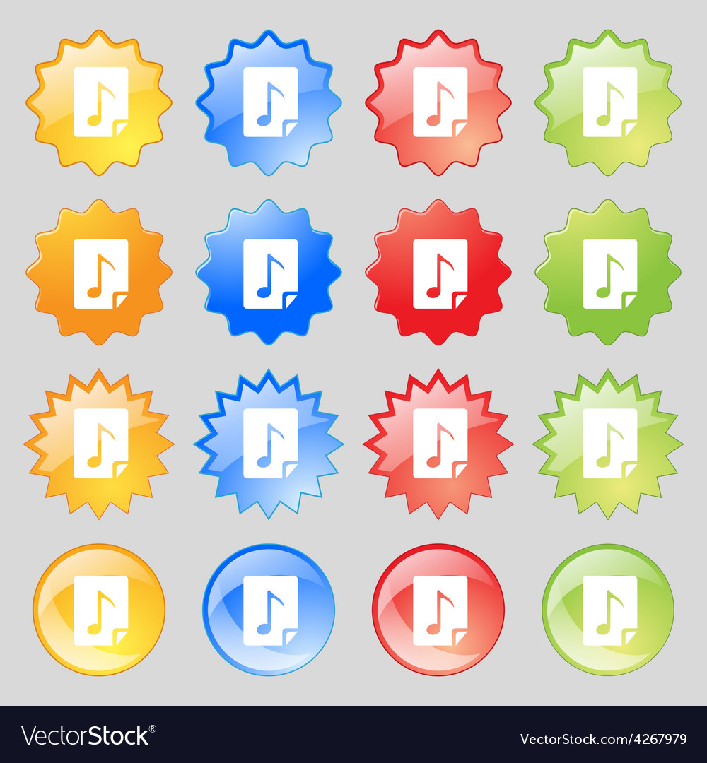 Audio mp3 fileicon sign big set of 16 colorful vector | Price: 1 Credit (USD $1)