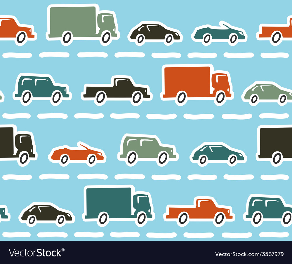 Cars seamless pattern vector | Price: 1 Credit (USD $1)