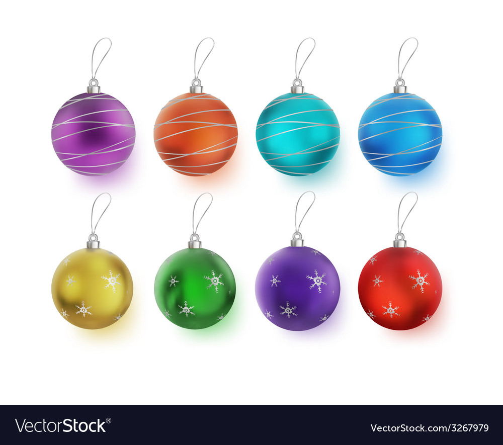 Christmas multicolor balls with bows isolated on vector | Price: 1 Credit (USD $1)