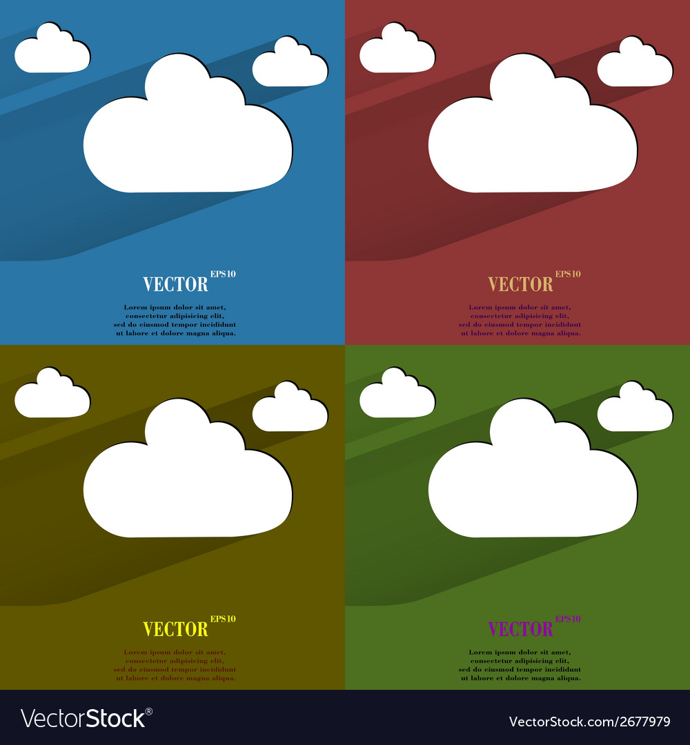 Color set cloud download application web icon flat vector | Price: 1 Credit (USD $1)