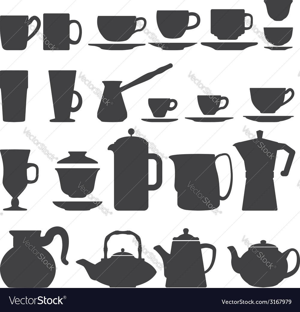 Cups and pots silhouette set vector | Price: 1 Credit (USD $1)