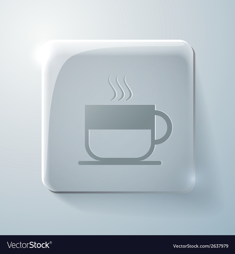 Glass square icon cup of hot drink vector | Price: 1 Credit (USD $1)