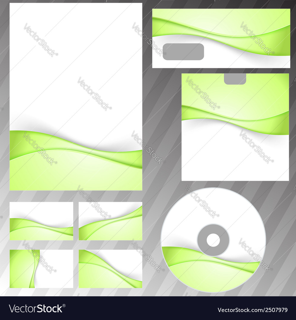 Green fresh eco swoosh stationery set vector | Price: 1 Credit (USD $1)