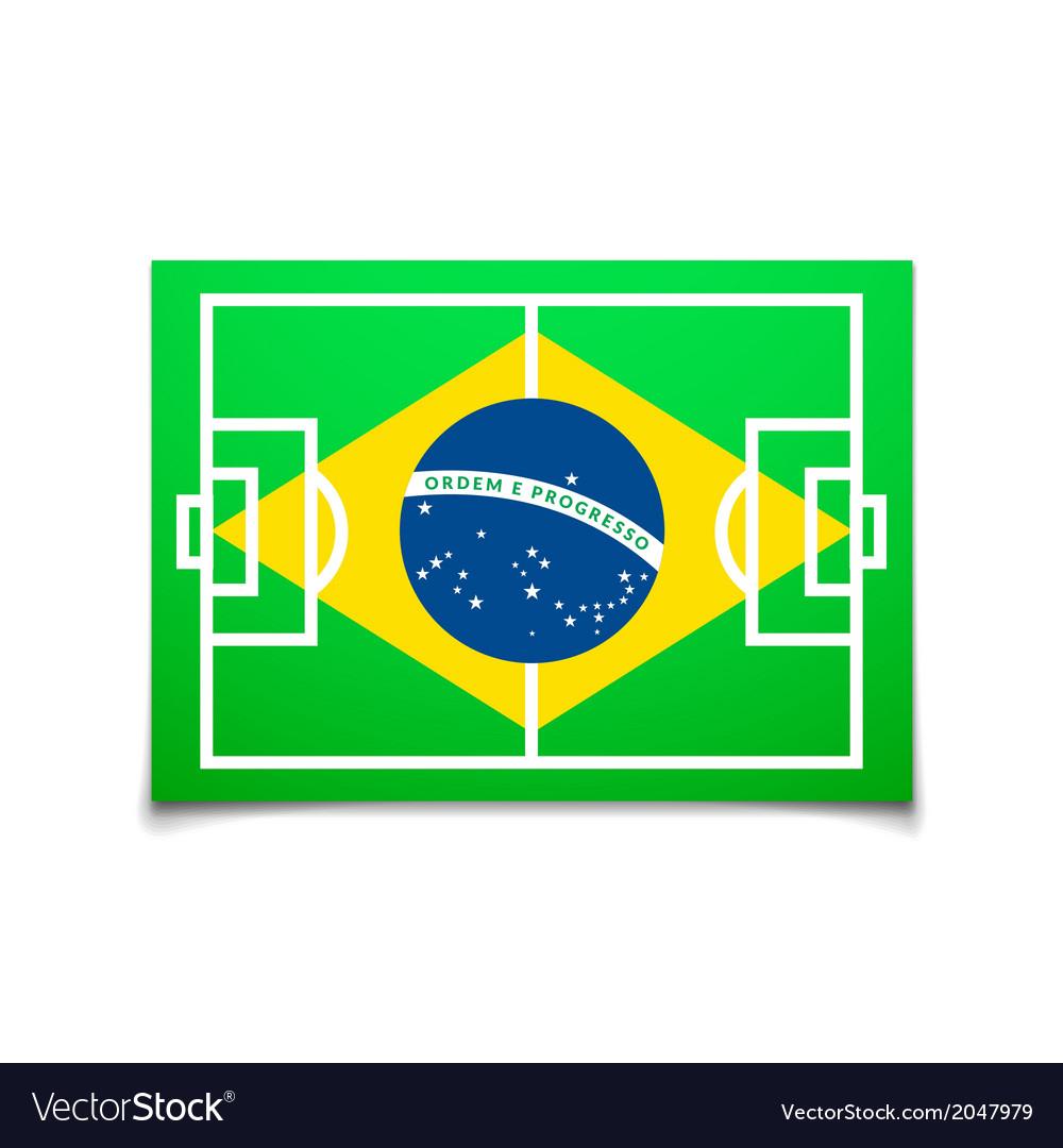 Green soccer field brazil flag vector | Price: 1 Credit (USD $1)
