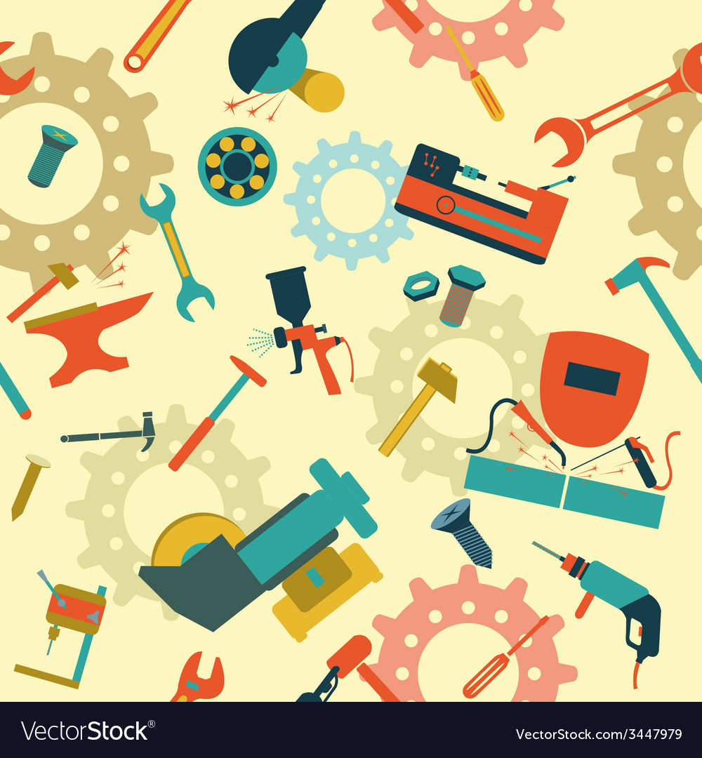 Metal work tools background seamless pattern vector | Price: 1 Credit (USD $1)