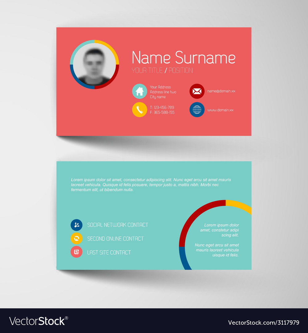 Modern red and teal business card template with vector   Price: 1 Credit (USD $1)