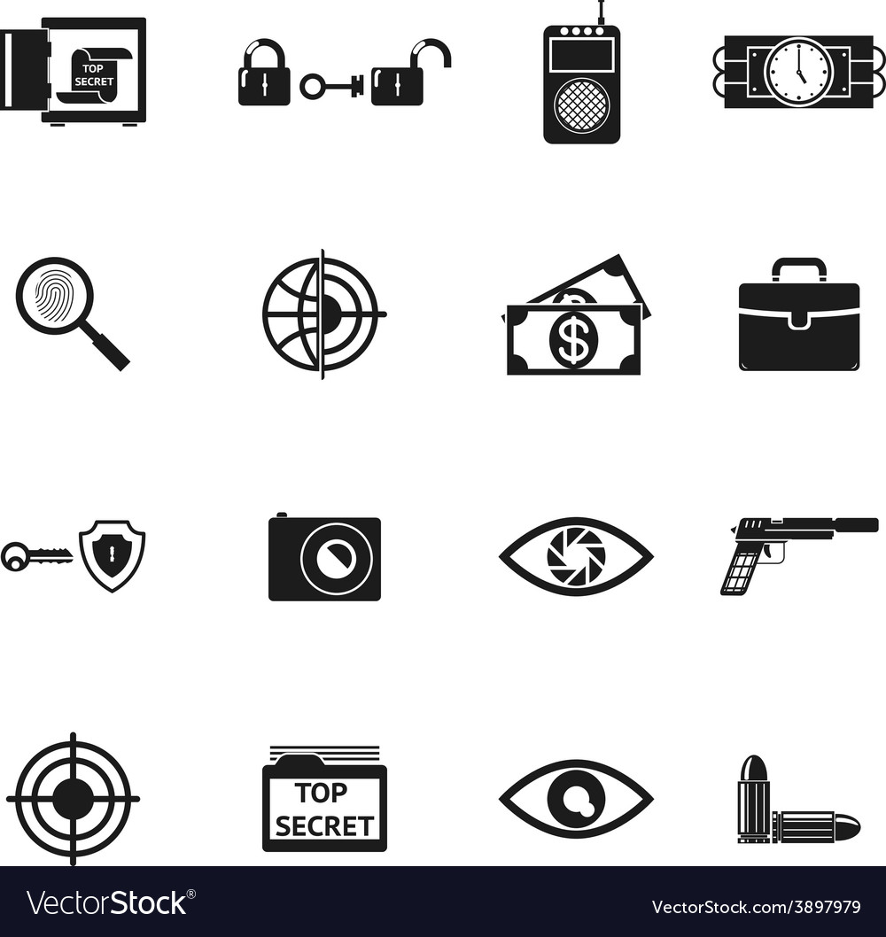 Secret agent accessories icons vector | Price: 1 Credit (USD $1)