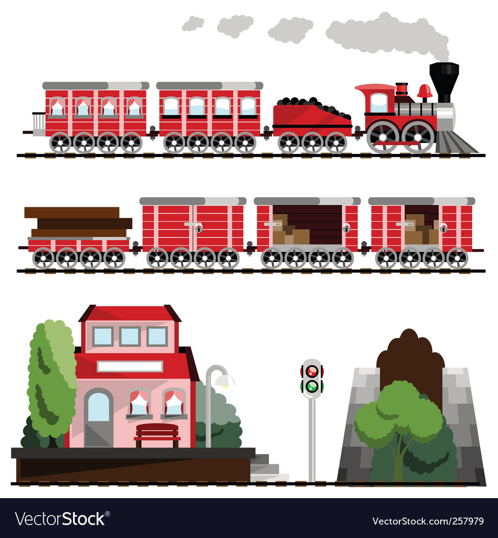 Train great set vector | Price: 1 Credit (USD $1)