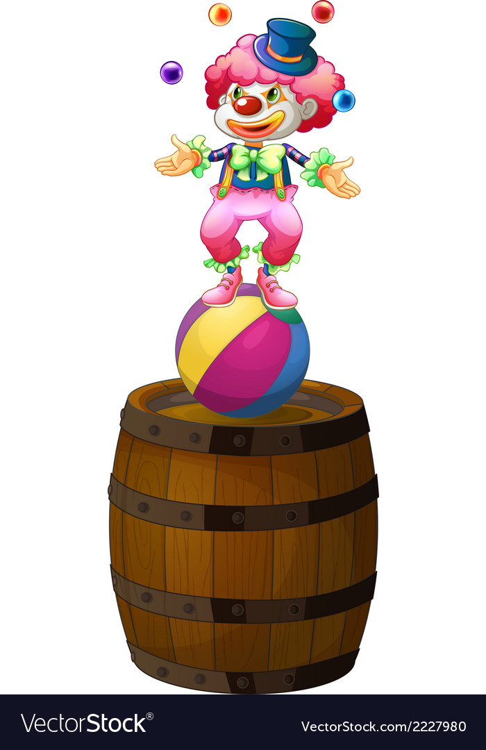 A clown juggling above the barrel vector | Price: 1 Credit (USD $1)