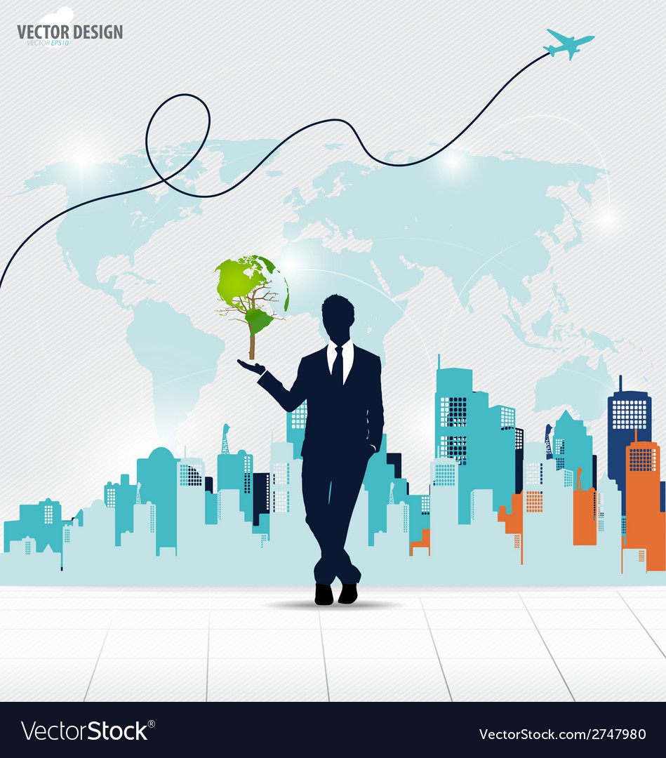 Businessman showing tree shaped world map with vector | Price: 1 Credit (USD $1)