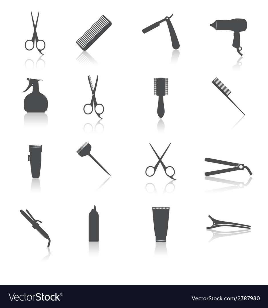 Hairdresser icons set vector | Price: 1 Credit (USD $1)