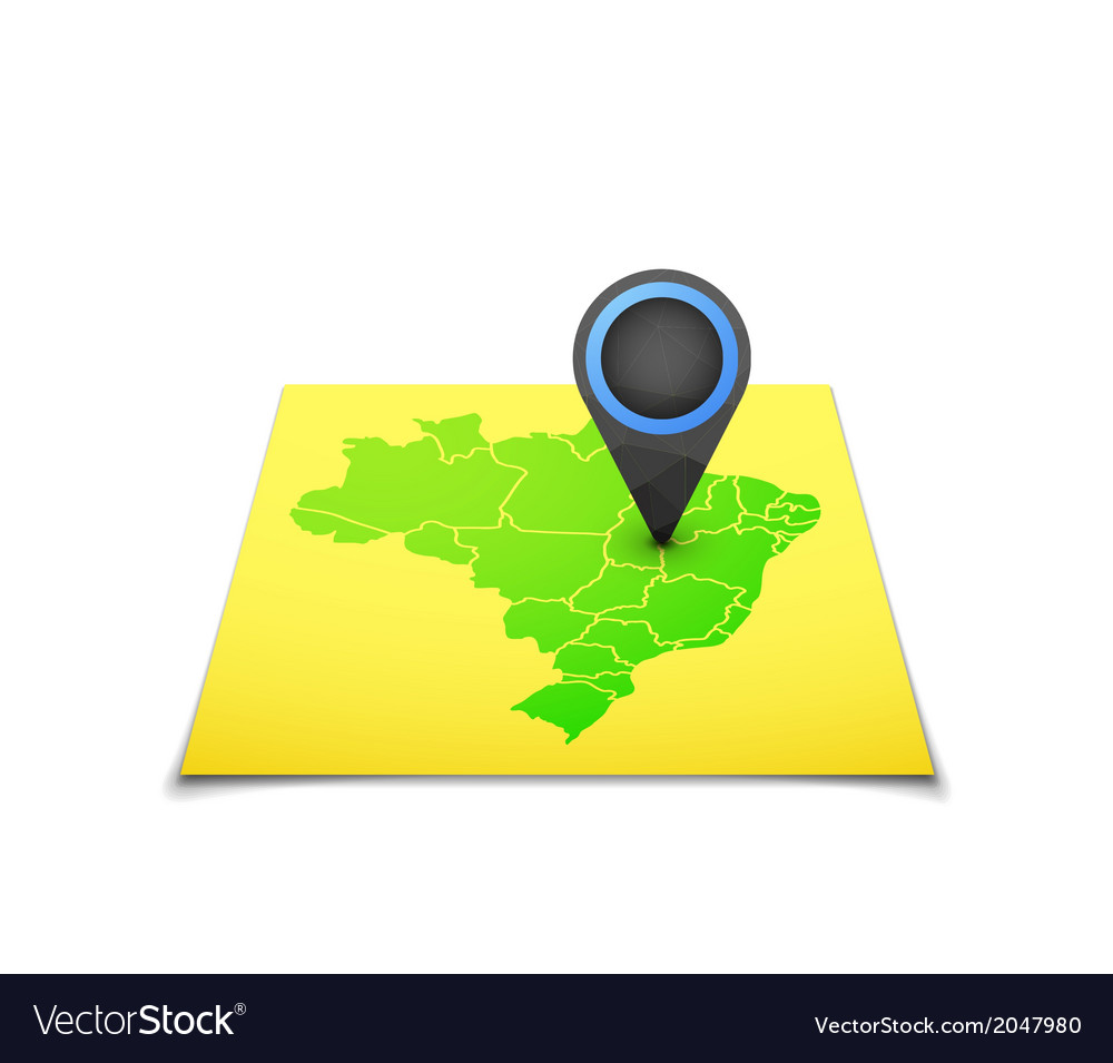 Map with a marker on brazil vector | Price: 1 Credit (USD $1)