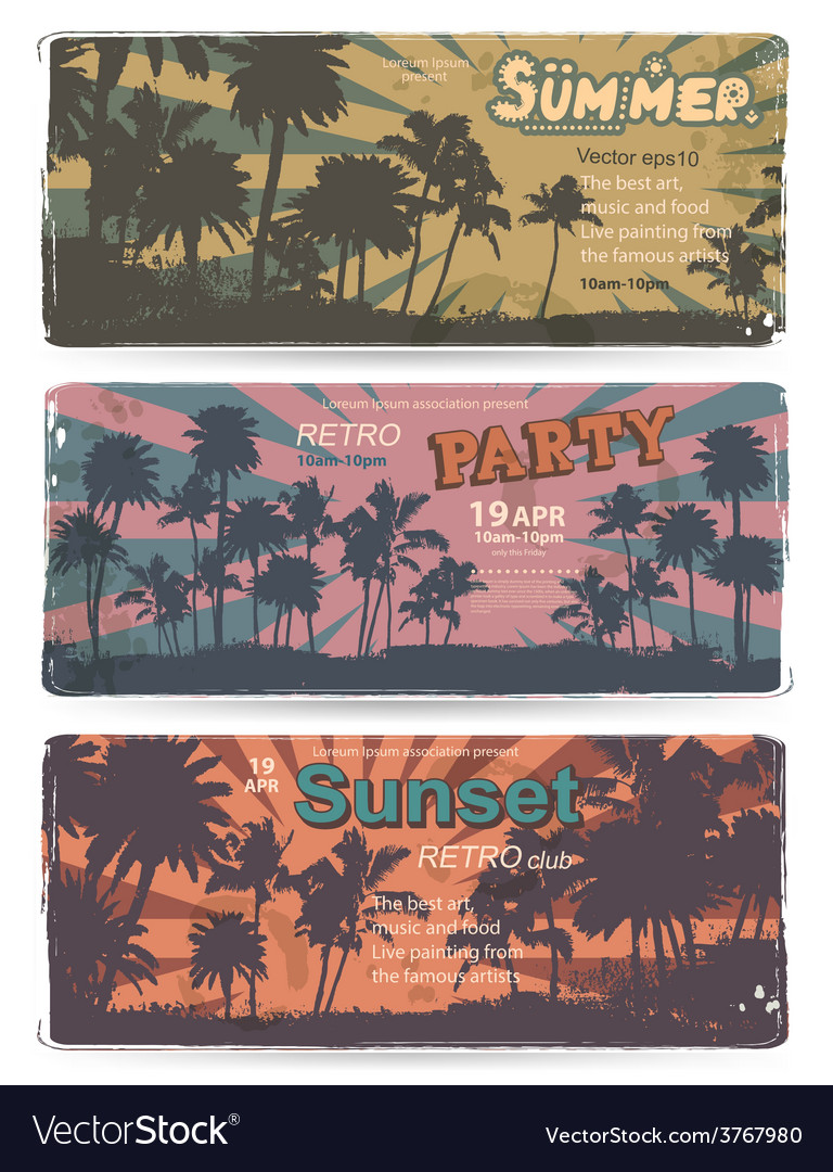 Set of vintage summer banners with palm trees vector | Price: 3 Credit (USD $3)