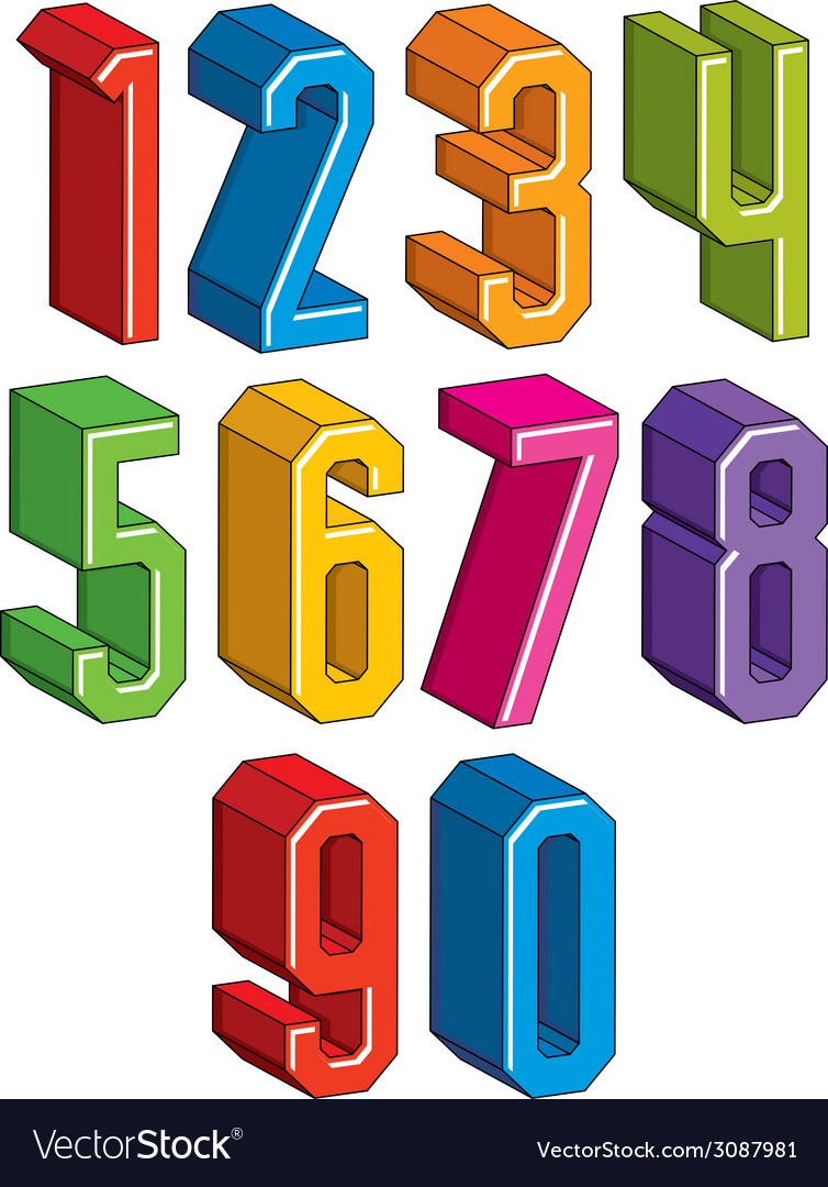 3d geometric numbers set in blue and green colors vector | Price: 1 Credit (USD $1)