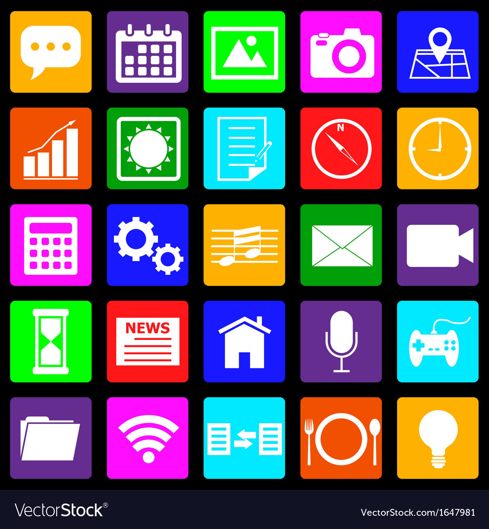 Application colorful icons on black background vector | Price: 1 Credit (USD $1)