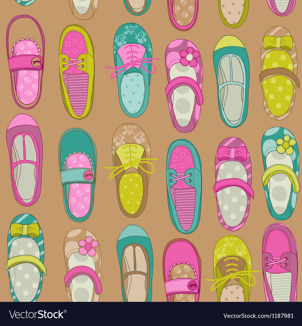 Baby girl shoes background vector | Price: 1 Credit (USD $1)
